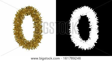 Number Zero Christmas Tinsel With Alpha Mask Channel For Clipping - 3D Illustration