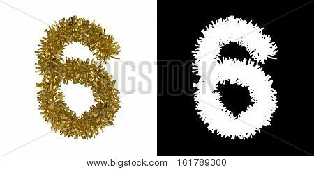 Number Six Christmas Tinsel With Alpha Mask Channel For Clipping - 3D Illustration