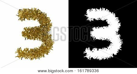 Number Three Christmas Tinsel With Alpha Mask Channel For Clipping - 3D Illustration