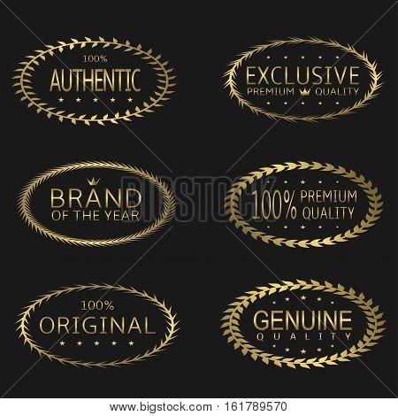 Premium Brand labels. Golden laurel wreaths, original exclusive symbols