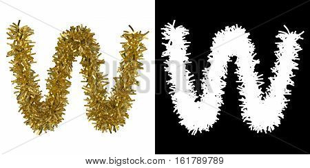 Letter W Christmas Tinsel With Alpha Mask Channel For Clipping - 3D Illustration
