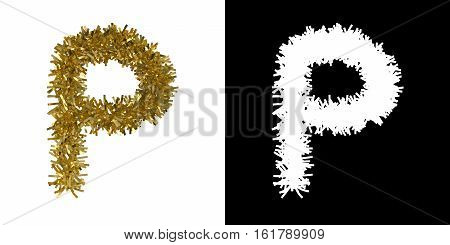 Letter P Christmas Tinsel With Alpha Mask Channel For Clipping - 3D Illustration