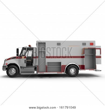 Side view Emergency ambulance car with opened dors isolated on white Background. 3D Illustration