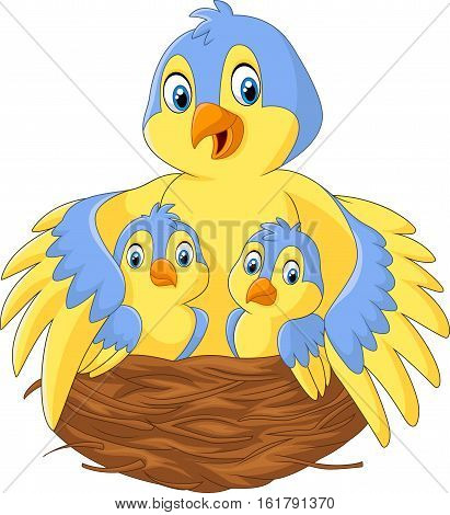 Vector illustration of Mother bird with her two babies in the nest