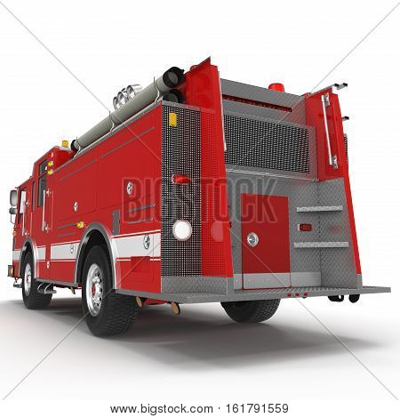 Fire truck or engine Isolated on White background. Rear view. 3D illustration