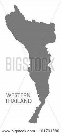 Western Thailand Map grey country silhouette illustration