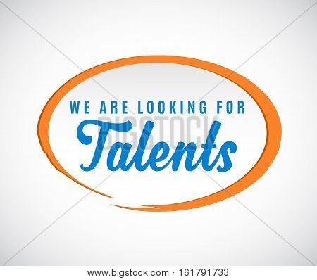 'We are looking for Talents' calligraphic text with orange elliptic shape around.