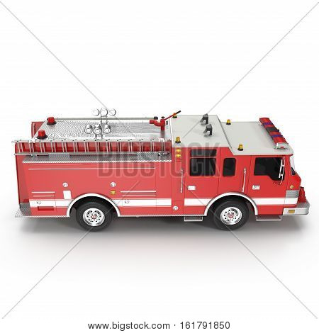 Side view Fire truck or engine Isolated on White background. 3D illustration