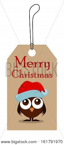 Christmas tag for sale. Funny owlet with big eyes in Christmas hat. Vector illustration. EPS10