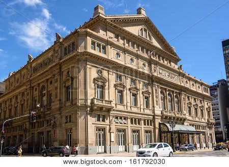 Buonos Aires, Argentina - October 30 2016: Facade of the Teatro Colon in Buenos Aires and traffic in the street