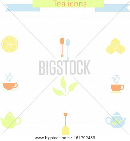 Set of flat colorful tea icons on white: tea spoons, lemon slice, sugar cubes, steam cups, teapots, tea bag, tea leafs, stock vector illustration