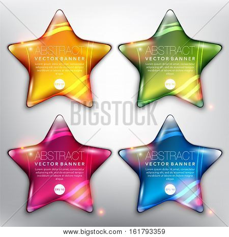Abstract vector banner set of 4. Pebble stones in shape of stars. Colorful with realistic light and shadow on the white panel. Each item contains space for own text. Vector illustration. Eps10.