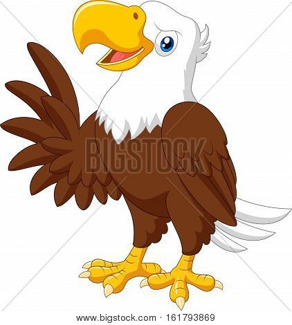 Vector illustration of Cartoon funny eagle presenting