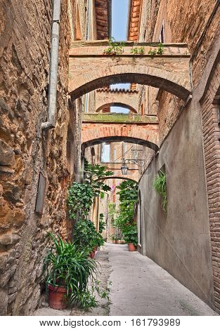 Bevagna, Perugia, Umbria, Italy: picturesque narrow alley with ancient arches and pot plants