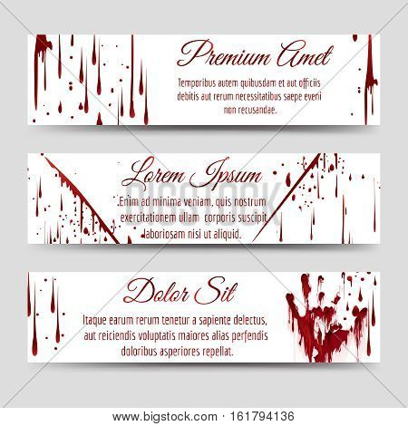 Horror banners template with bloody handprint scratch and blood drops. Vector illustration