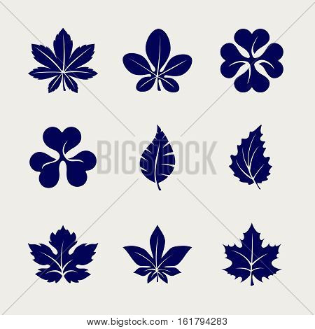Ball pen imitation leaves icons set design. Vector sketch icons