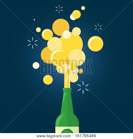 beer gushing from bottle on blue background. flat design.