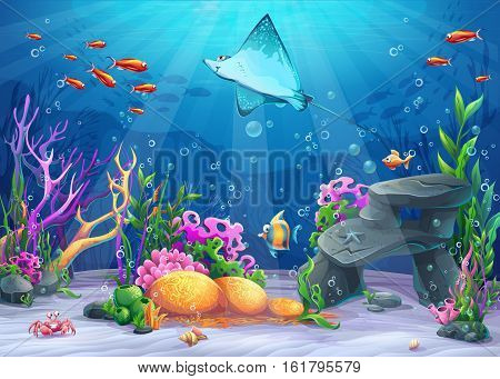 Vector cartoon illustration undersea world with funny character cramp-fish surrounded coral reef rock fish crab shell