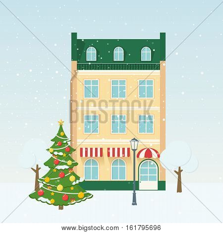 Christmas vector illustration with winter street tree and snow. Background for greeting card.