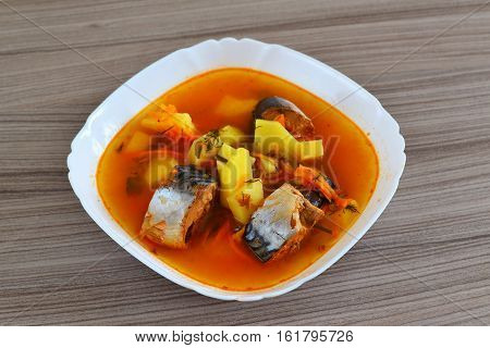 Soup of canned mackerel in a tomato sauce