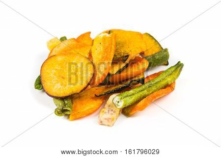 Dehydrated Mixed Vegetables Isolated On White Background