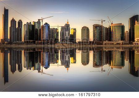 Panoramic view of Business bay of Dubai UAE
