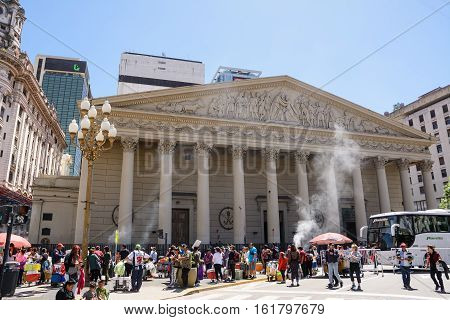 Buenos Aires, Argentina - October 30 2016: Church of SS Trinity cathedral of Buenos Aires in a holiday sunday with faithful and tourist