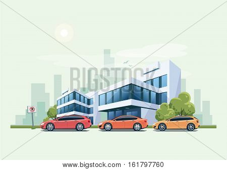Cars Parked In Front Of Office Building And City Background