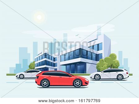 Street Road With Cars In Front Of Office Buildings And City Background