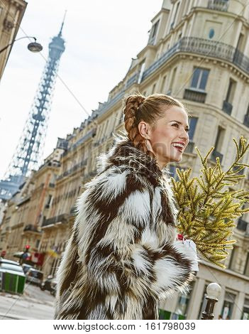 Happy Trendy Fashion-monger With Christmas Tree In Paris, France