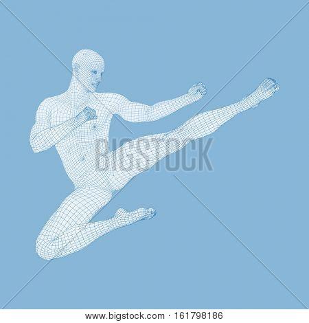 Karate and Kung Fu. Karate Jump Kick. Fighter. 3D Model of Man. Human Body. Sport Symbol. Design Element. Asian Martial Arts. Vector Illustration.