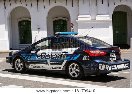 Buenos Aires, Argentina - October 30 2016: Police car in plaza de Mayo in Buenos aires in a holiday sunday
