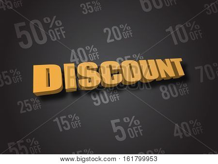 A 3D illustration of word Discount on black background
