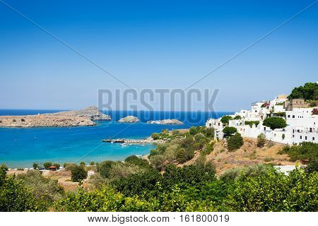 Beautiful view of the Lindos bay and the blue Aegean sea, Greece