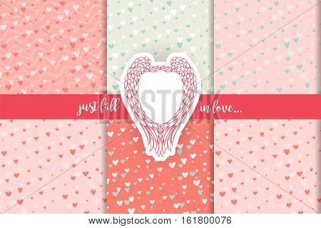 Blue and pink contrast patterns collection for scrapbooking. Cute doodle hearts scrap book backgrounds set and angel wings retro sticker. For Valentines Day cards, gifts, wedding invitations, romantic design. Vector illustraion