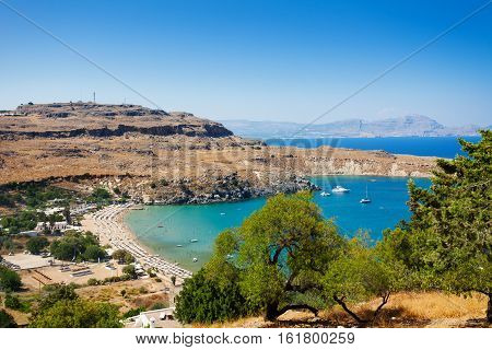 Beautiful view of Lindos nature with it's bay, beaches and rocks