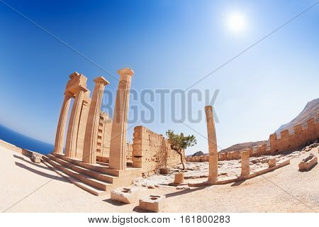 Lindos Acropolis' columns of the Hellenistic stoa, Rhodes, Greece