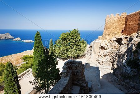 Overlooking the blue Aegean Sea from the ancient Lindos Acropolis, Rhodes, Greece