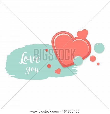 Two red hearts with blue watercolor style stroke and drops. Valentines Day Greeting Banner isolated on white background. Romantic Lovely Frame card design template for Mothers Day.
