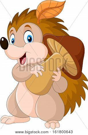 Vector illustration of Cute baby hedgehog holding mushroom