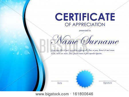 Certificate of appreciation template with blue light curve wavy background and seal. Vector illustration