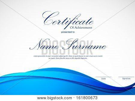 Certificate of achievement template with blue dynamic bright wavy material background. Vector illustration
