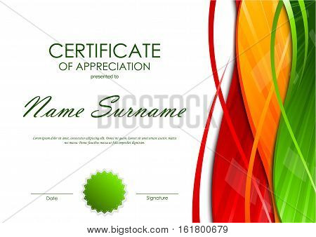Certificate of appreciation template with colorful light wavy swirl background and green seal. Vector illustration