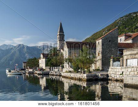 perast traditional balkan village mountain landscape by kotor bay in montenegro