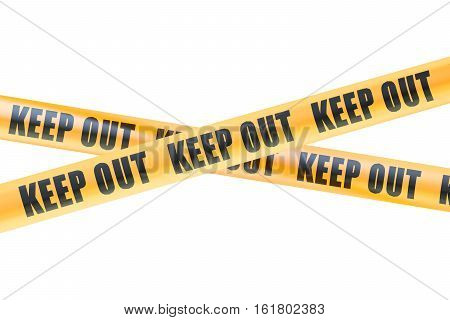 Keep Out Caution Barrier Tapes 3D rendering isolated on white background