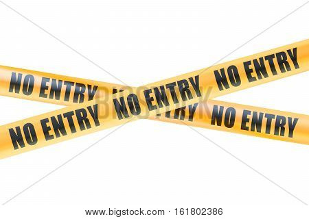 No Entry Caution Barrier Tapes 3D rendering isolated on white background