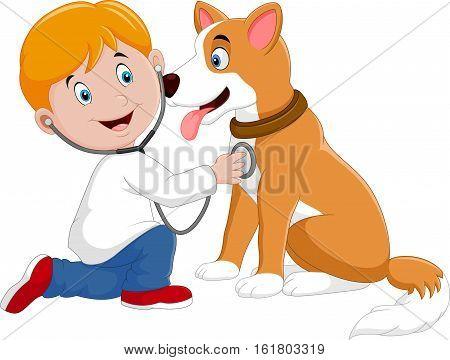 Vector illustration of Cartoon veterinary examining dog