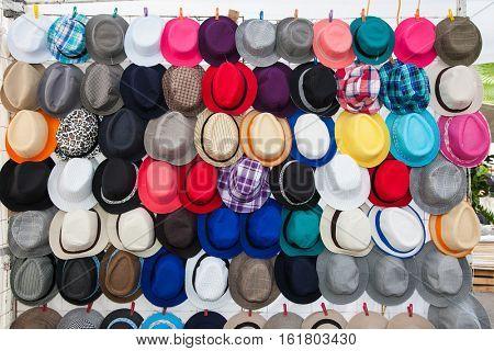 Street market selling hats in Oaxaca, Mexico.
