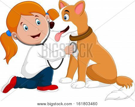 Vector illustration of Little girl veterinary examining dog