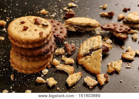 Tasty cookies with crumbs on dark background